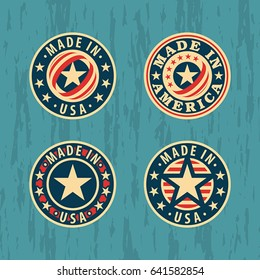 Made in USA (America) – set of round vector labels, badges, stickers.