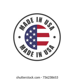 """Made in USA"" badge with USA flag"