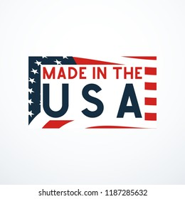 Made in USA badge with USA flag elements. Vector illustration
