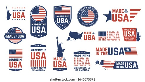 Made in USA badges. Patriot proud label stamp, American flag and national symbols, United States of America patriotic emblems vector set. US product stickers, national independence day 4th july badges