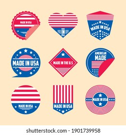 Made in usa banners and labels icon set design, American quality business and national theme Vector illustration