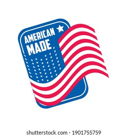 Made in usa card with flag design, American quality business and national theme Vector illustration