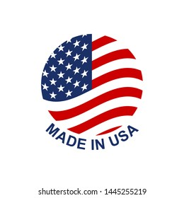Made in USA circle badge or logo with American flag. Vector illustration.