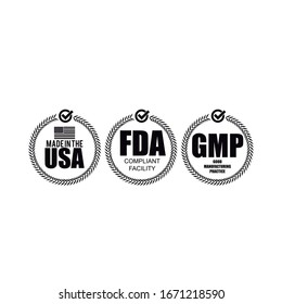 Made in usa - FDA Approved and GMP logo vector