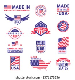 Made in usa. Flag made america american states flags product badge quality patriotic labels emblem star ribbon sticker, vector collection