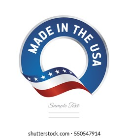 Made in USA flag blue color label button banner