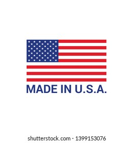 Made in USA flag label logo badge United States of America flat vector