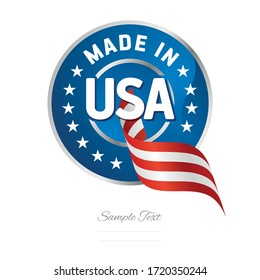 Made in USA flag ribbon Quality sign logo blue color label button banner