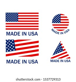 Made in USA Flags Set Emblems