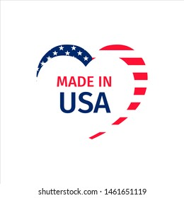 Made in USA. Heart shape vector illustration. United States of America