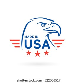 Made in USA icon concept badge design with blue and red American Bald Eagle emblem 2. Vector illustration.