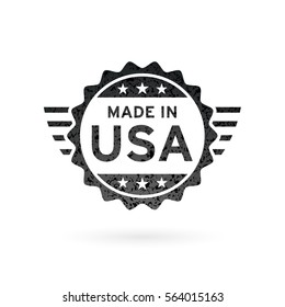 Made in USA icon concept badge design with grunge black American flag emblem isolated on white background. Vector illustration.