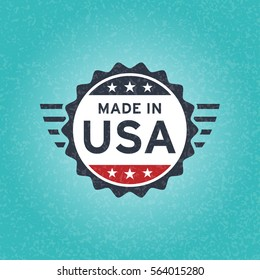 Made in USA icon concept old retro grunge badge design with blue and red American flag emblem on blue background. Vector illustration.