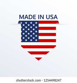 Made in USA icon or logo. American flag ribbon or pennant. Vector illustration.