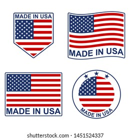 Made in USA icon set with American flag. Vector illustration.