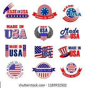Made in USA icons, premium quality goods and product manufacture. Vector tags and ribbon labels of American original warranty with America flag eagle wings, stars and stripes in laurel wreath