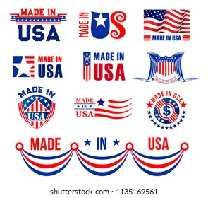Made in USA icons set for premium quality and product warranty tag design. Vector badges made in America with American flag stripes and stars on red ribbon for best quality production and company