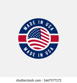 Made in USA label with american flag. simple flat vector illustration