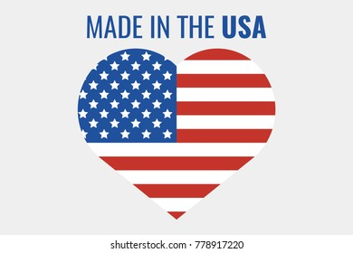 Made in the USA label. United State of America flag. Vector illustration.