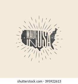 Made in USA label. Vintage styled vector illustration.
