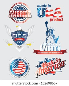 made in usa labels with bold eagle, liberty statue and american flag