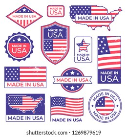 Made in usa logo. American proud patriot tag, manufacturing for usa label stamp and united states of america patriotic flag. Us original american manufacturings badge vector isolated icons set