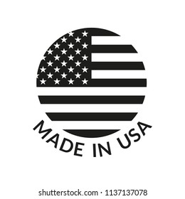 Made in USA logo or label. Circle US icon with American flag. Vector illustration.