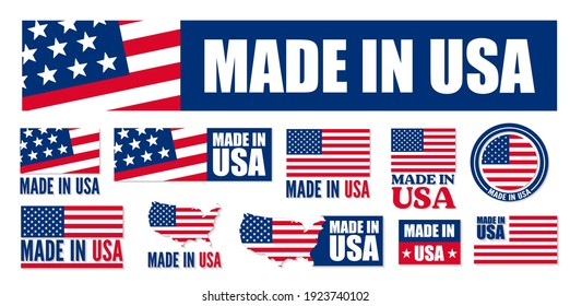 Made in the USA logo or label. Vector illustration