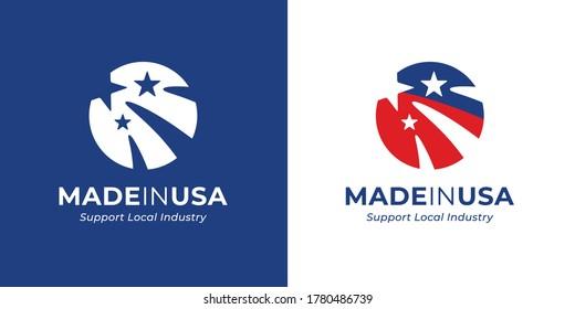 Made in USA Logo Template Design. amerikanisches Markenzeichen. Die Vereinigten Staaten von Amerika abstrakte rund Flaggen Symbol. Vektorgrafik.