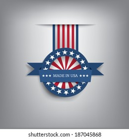 Made in USA ribbon badge. Eps10 vector illustration