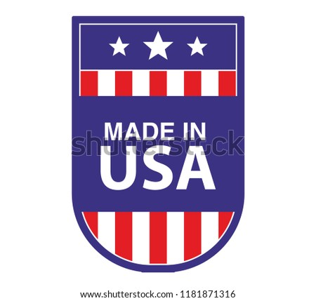 f703429096a Made in USA sign.Shield checkmark color of American flag.Flat vector.Sticker  icon emblem. - Vector