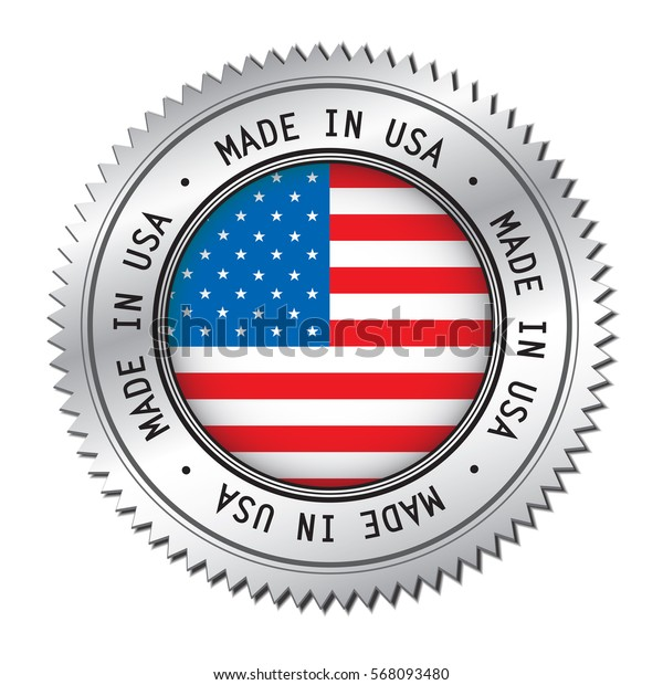 Made in The USA silver badge with United States Of America flag symbol in the center. Vector illustration isolated on white background.