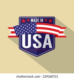 Made in USA Single Badge Vector Illustration