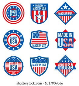 Made in the usa vector labels. American manufacturing stickers. Usa sticker label, american emblem badge illustration