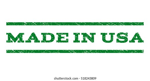 Made In USA watermark stamp. Text tag between horizontal parallel lines with grunge design style. Rubber seal stamp with scratched texture. Vector green color ink imprint on a white background.