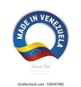 Made in Venezuela flag blue color label button banner