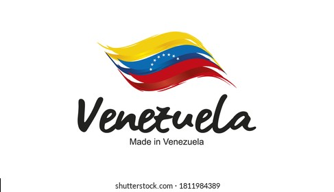 Made in Venezuela handwritten flag ribbon typography lettering logo label banner