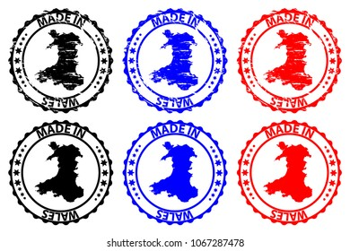 Made in Wales - rubber stamp - vector, Wales map pattern - black, blue and red