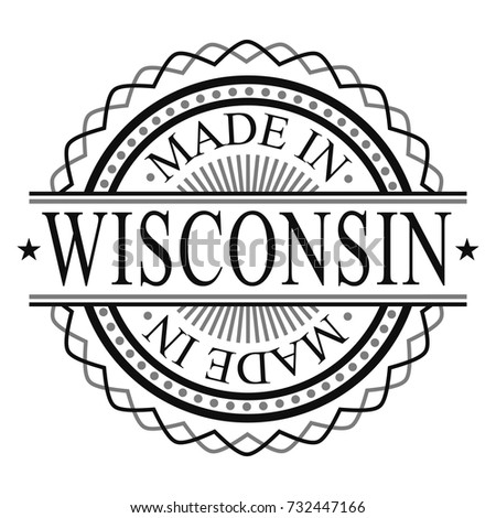 Made In Wisconsin Stamp Logo Icon Symbol Design