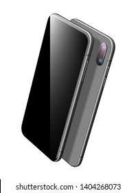 Madern Black Smartphone Vector Mockup. Can use for Printing, Website, Presentation Element. for App Demo on Phone. Mobile Phone. Vector 3d Realistic Cell Phone in Perspective View.