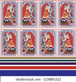 madhubani  art  border design