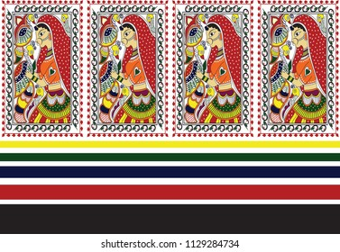 madhubani  art lady with birds border design