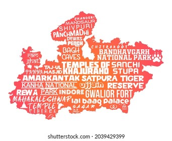 Madhya Pradesh, India high resolution vector map with famous monuments and tourist locations engraved on the map