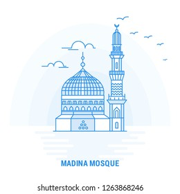 MADINA MOSQUE Blue Landmark. Creative background and Poster Template