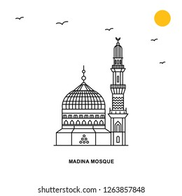MADINA MOSQUE Monument. World Travel Natural illustration Background in Line Style
