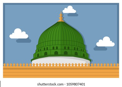 Madina mosque vector illustration for background or gift card