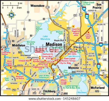 Madison Wisconsin Area Map Stock Vector (Royalty Free) 145248607 ...