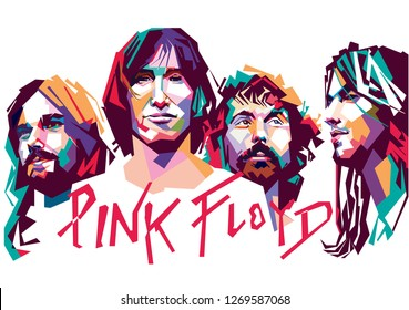 Madiun, Indonesia - December 29, 2018 : Pink Floyd was an English rock band from London, founded in 1965.