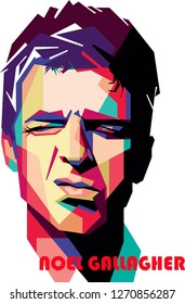Madiun, Indonesia - December 31, 2018 : Noel Thomas David Gallagher (born 29 May 1967) is a British singer, songwriter and guitarist. Oasis Band.
