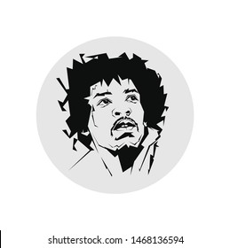 madiun, indonesia-agust 2 2019: illustration of muscian. jimi hendrix is an singer and guitarist. vector line sketch isolated.